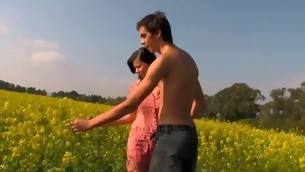 Sweet legal age teenager is procurement racy spooning session at the field