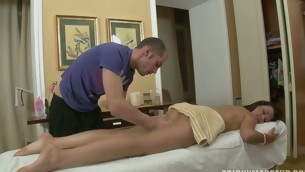Massage goes eager as a ladies' slips his cock in a hot fur pie