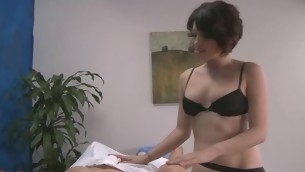 Blue 18 year old gril gets screwed hard from behind by her massage therapist