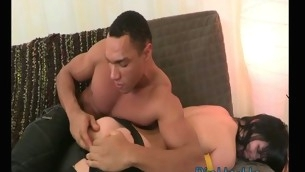 Doxy receives spunk on will not hear of lustful face after wonderful anal sex