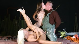 Sharka Blue and her tall girlfriend want to play a threesome game. This gracious carpenter is their target now. Suckingcock and licking balls are they most excellent in when sharing rod