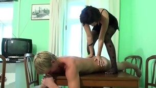 Horny dark brown undresses and bonks with say no to stud on table