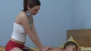 Legal Age Teenager honey start massage, which turns into a vehement fucking