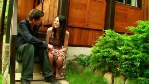 Legal Age Teenager black brown with pleasure begins outdoors passionate sex