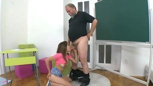 Aged teacher is censoring young hottie's wild beaver