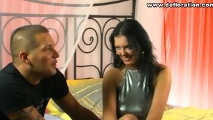 Youthful virgin shows her tender pink cum-hole for the web camera
