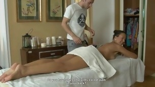 Youthful hotty rides on stud's lengthy wang after hawt massage