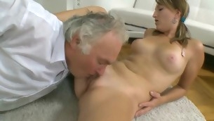 Beauty is having hardcore sofa sex with hungry old teacher
