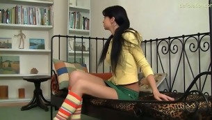 Kinky mint takes dicks into her frowardness but guards her cunt